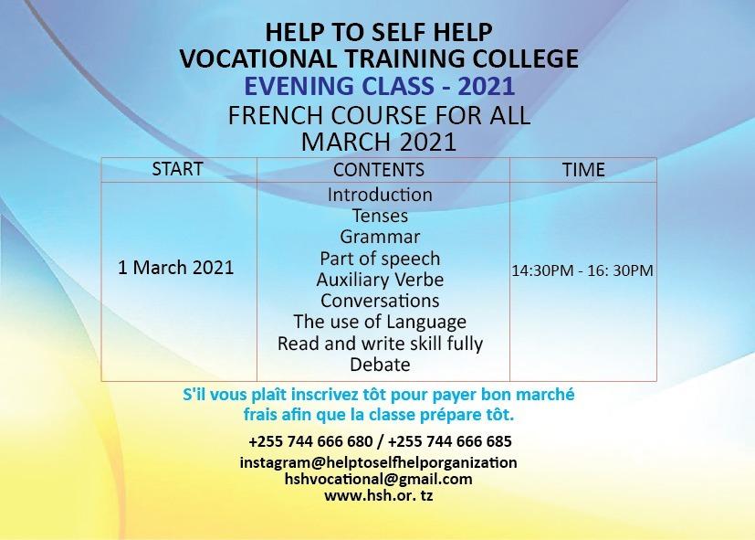 Kozi ya MUDA MFUPI – FRENCH (Short Course) – 2021